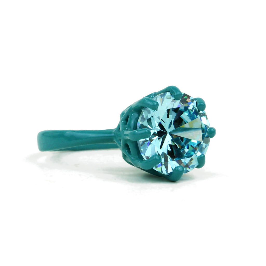 SALE - OMG Bling Ring in Teal - 11mm Round Stone - Sizes 6, 7, and 8