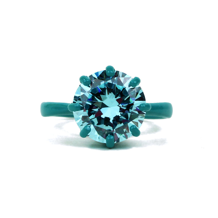 SALE - OMG Bling Ring in Teal - 12mm Round Stone, LARGER Finger Sizes