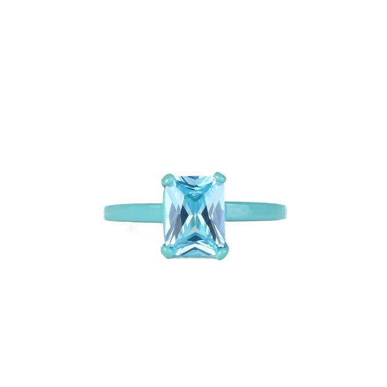 SALE - Lucky Charms Bling Ring - Aqua Octagon 8mm x 6mm - Powder Coated