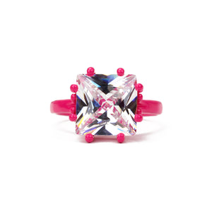 fuchsia and white 10 mm square thin band ring front view Funhouse Labs