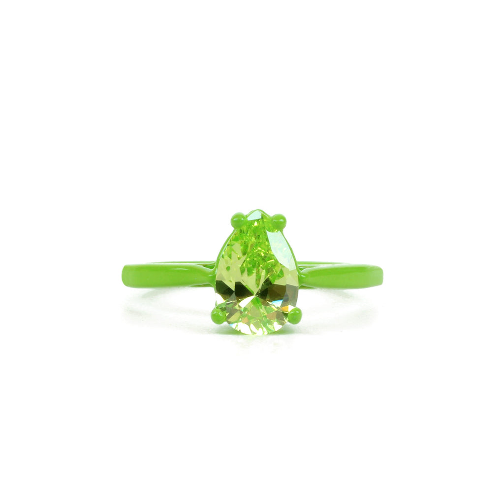 SALE - Lucky Charms Bling Ring - Green Pear 9 mm x 6 mm - Powder Coated