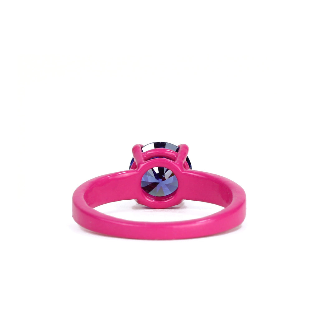 Fuchsia and Tanzanite Purple Superhero Bling Ring - 8mm Round - Powder Coated