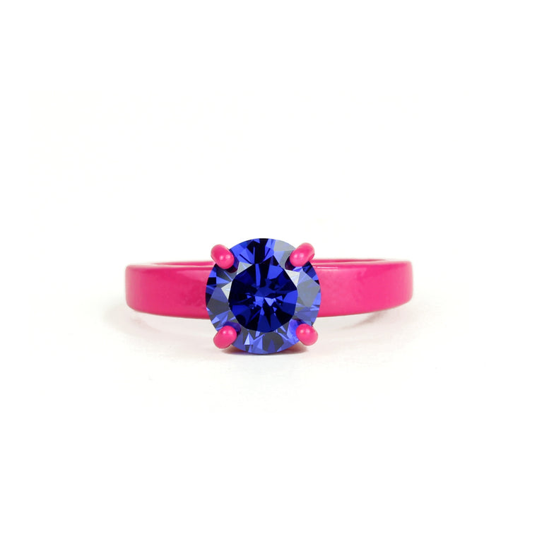 SALE - Fuchsia and Tanzanite Purple Superhero Bling Ring - 8mm Round - Powder Coated