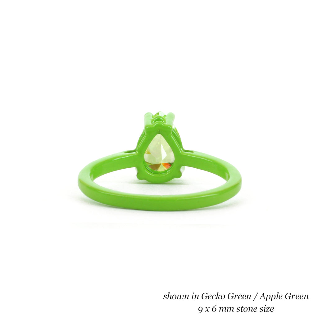 9 x 6 mm Pear Ring with Thin Band - Customize