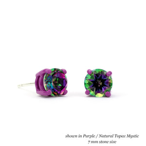 purple and mystic topaz 7 mm round earrings Funhouse Labs three quarter and front view