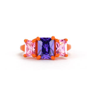 tangerine orange band ring multi stone double oct 9 x 7 front funhouse labs