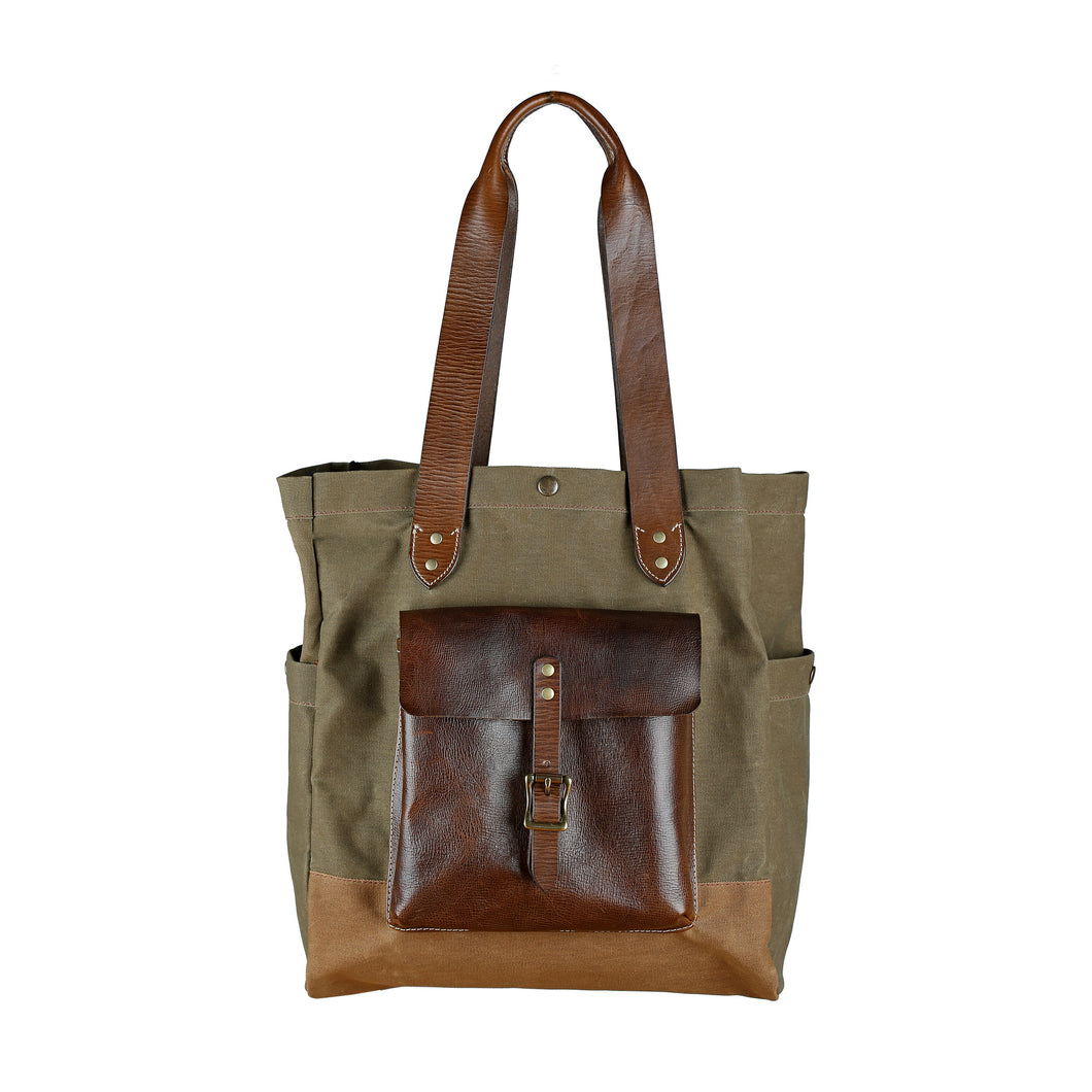 Canvas & Leather Tote - Olive