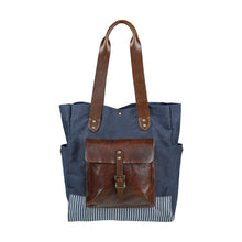 Canvas & Leather Tote - Navy