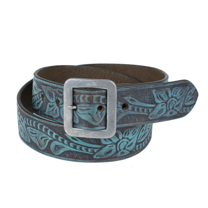 Flower Embossed Belt - Dark Brown