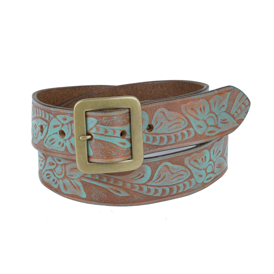 Flower Embossed Belt - Light Brown