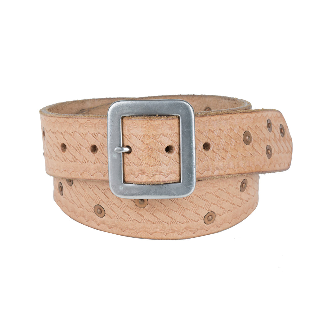 Basket Weave Rivet Belt - Natural