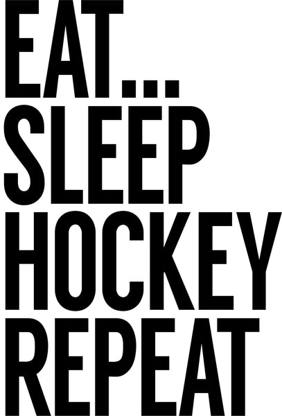 eat sleep hockey repeat hockey decal - North 49 Decals