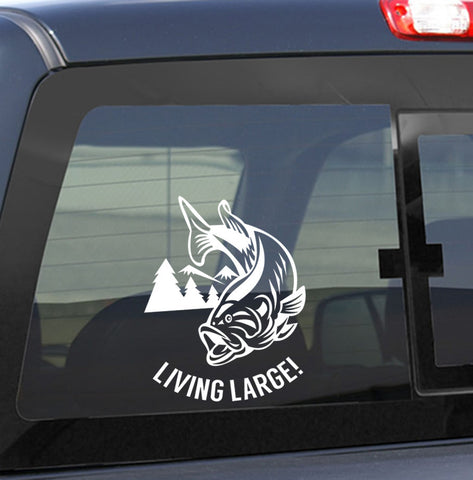living large bass fishing decal - North 49 Decals