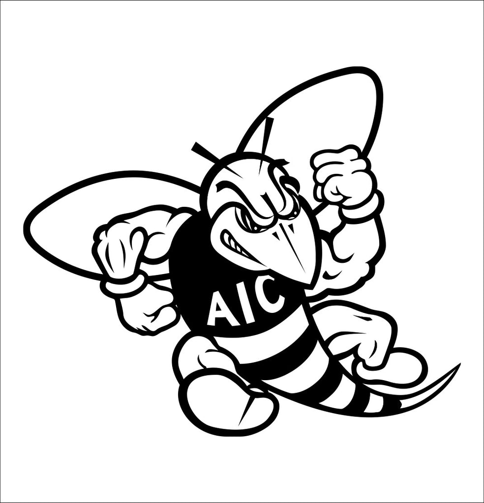AIC Yellow Jackets decal, car decal sticker, college football
