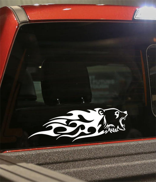 bear flaming animal decal - North 49 Decals