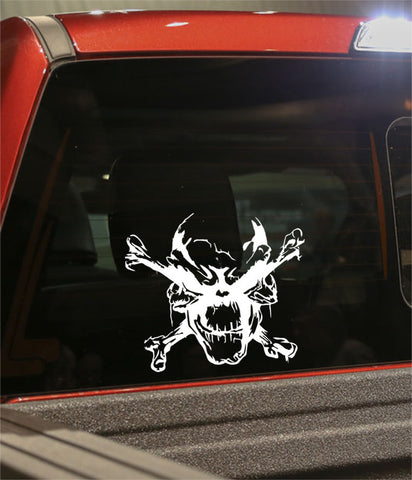 skull 2 skull biker decal - North 49 Decals