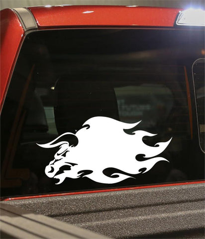 bull 2 flaming animal decal - North 49 Decals