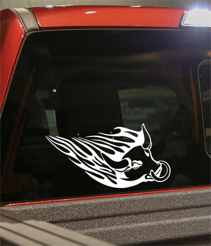 bull 4 flaming animal decal - North 49 Decals