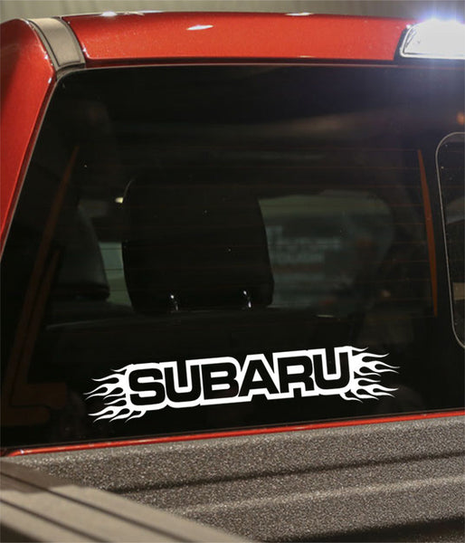 Subaru flaming car brand decal - North 49 Decals