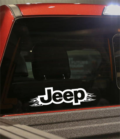 Jeep flaming car brand decal - North 49 Decals