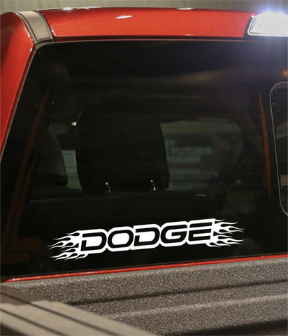 Dodge flaming car brand decal - North 49 Decals