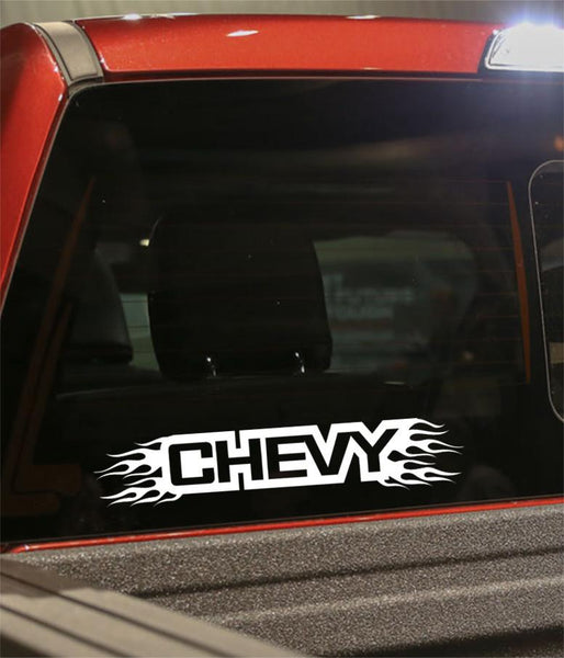 Chevy flaming car brand decal - North 49 Decals