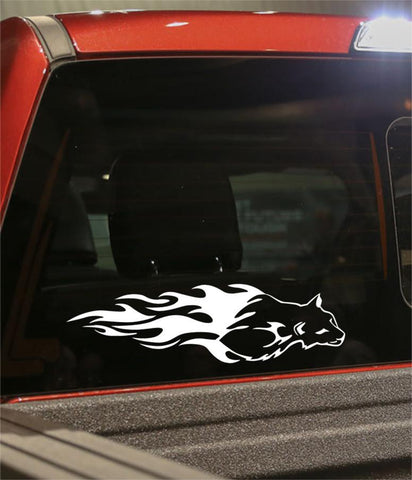 cougar 2 flaming animal decal - North 49 Decals