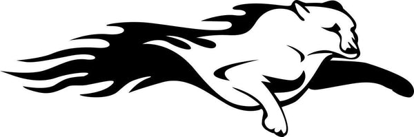 cougar 4 flaming animal decal - North 49 Decals