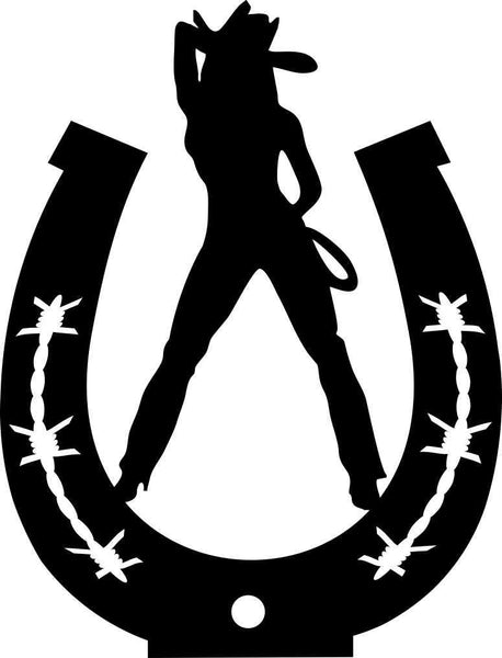 cowgirl horseshoe 2 country & western decal - North 49 Decals