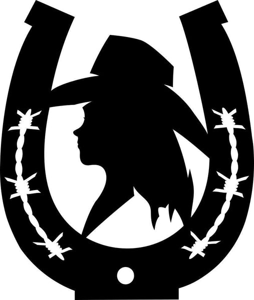 cowgirl horseshoe 3 country & western decal - North 49 Decals