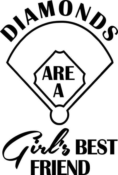 diamonds are a girl's best friend softball decal - North 49 Decals