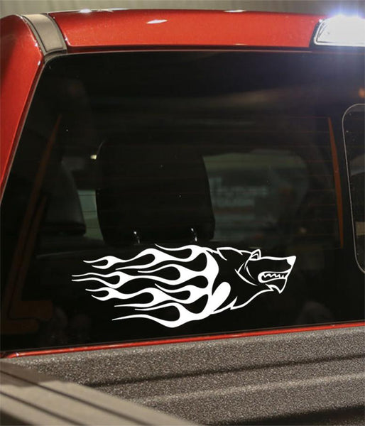 dog flaming animal decal - North 49 Decals