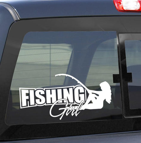 Fishing girl fishing decal - North 49 Decals