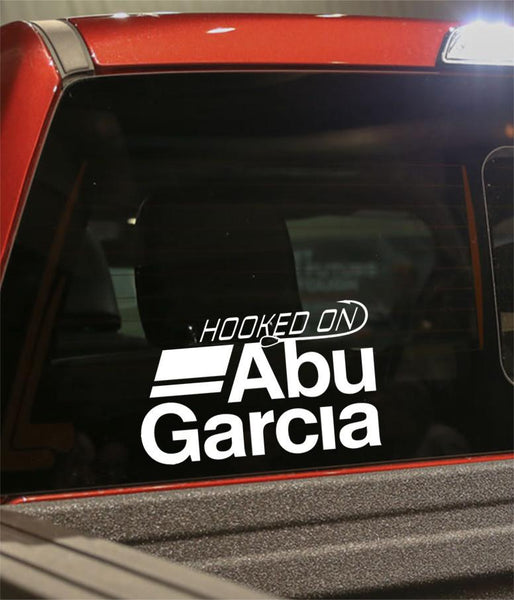 hooked on abu garcia fishing logo decal - North 49 Decals