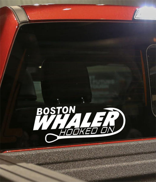 hooked on boston whaler fishing logo decal - North 49 Decals