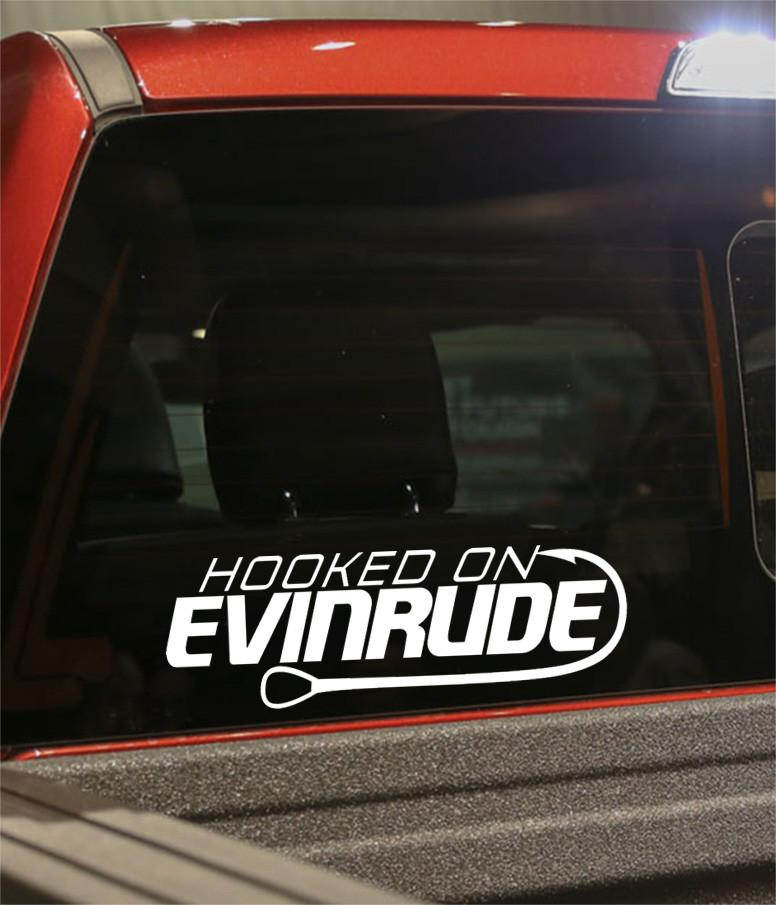 hooked on evinrude fishing logo decal - North 49 Decals