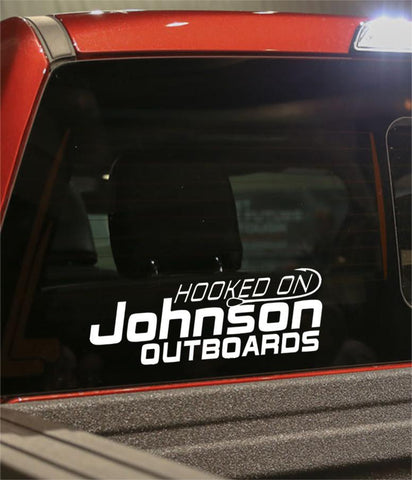 hooked on johnson outboards fishing logo decal - North 49 Decals