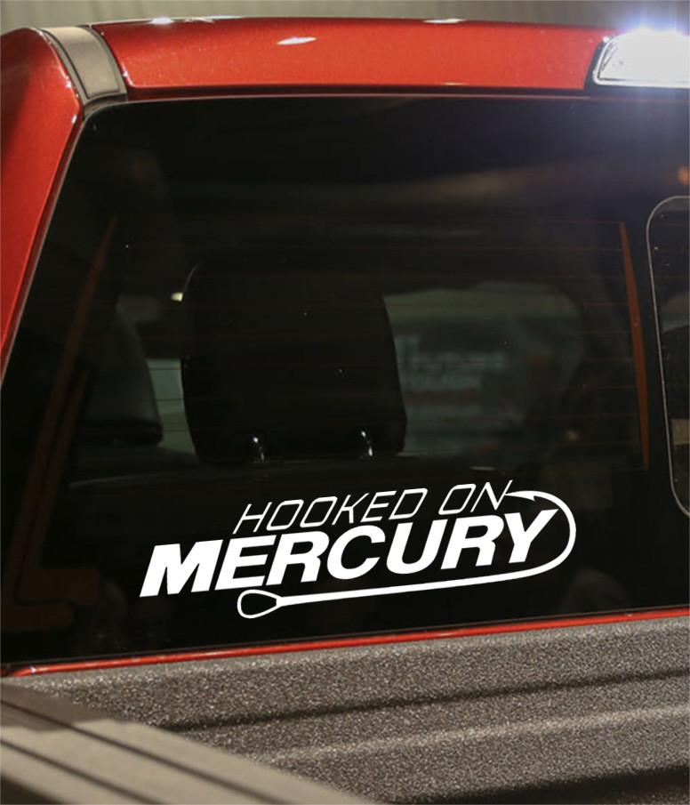 hooked on mercury fishing logo decal - North 49 Decals