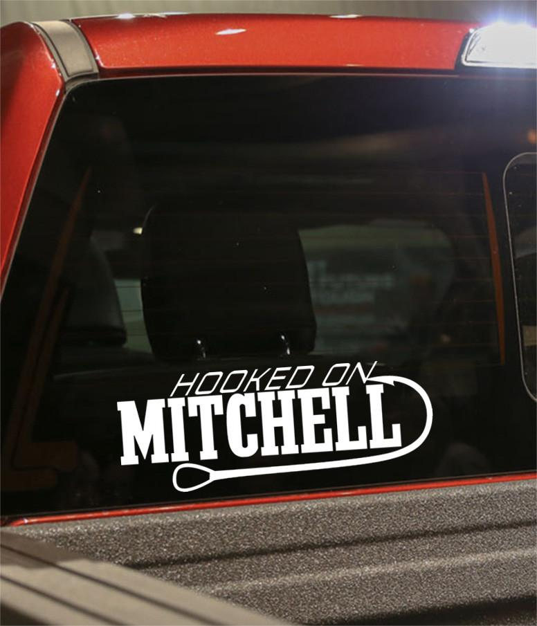 hooked on mitchell fishing logo decal - North 49 Decals