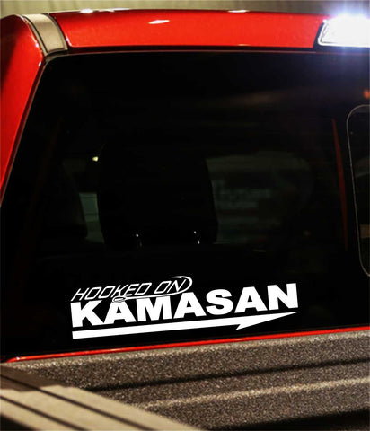 kamasan hooks decal, car decal, fishing sticker