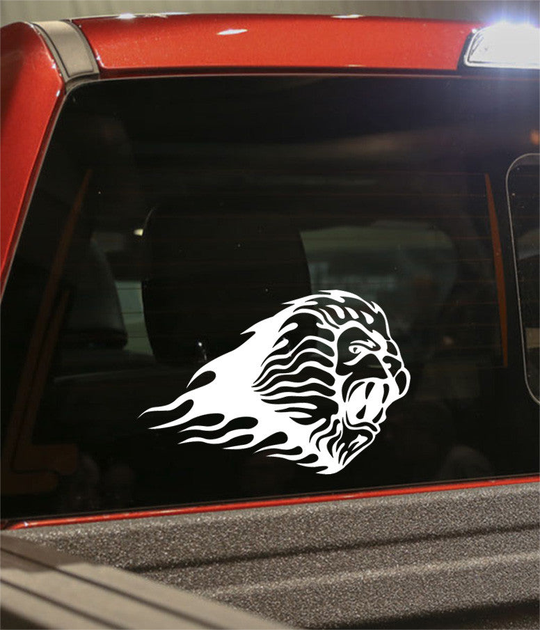 lion 3 flaming animal decal - North 49 Decals