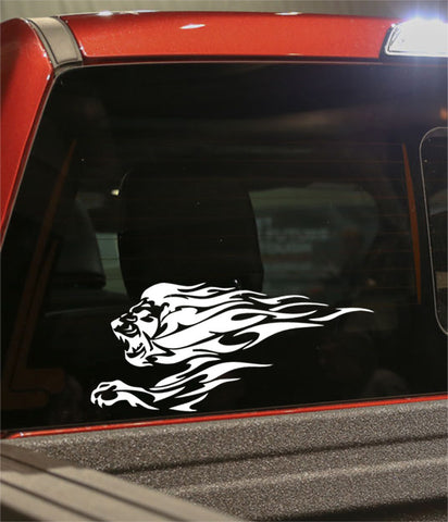 lion flaming animal decal - North 49 Decals