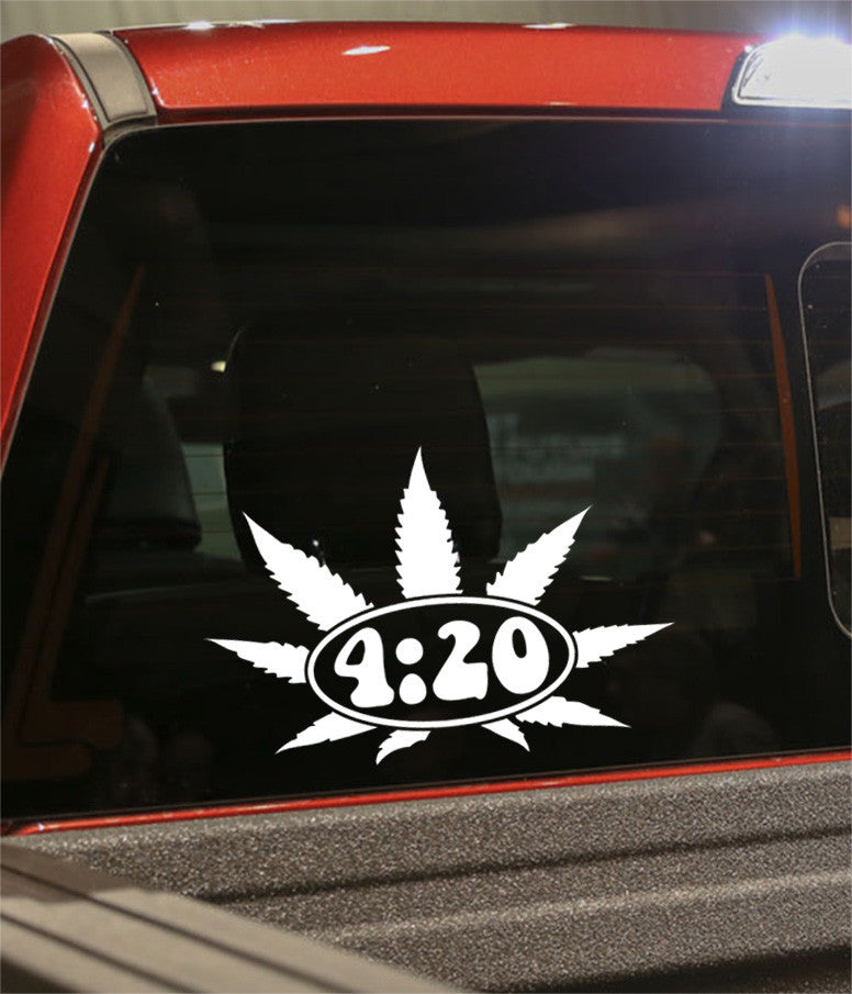 4:20 leaf marijuana decal - North 49 Decals