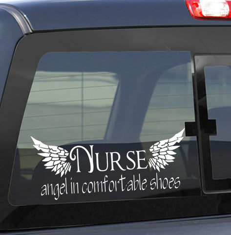 Nurse..angel in comfortable shoes nurse decal - North 49 Decals