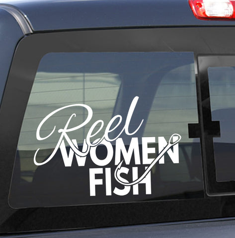 Reel women fish fishing decal - North 49 Decals