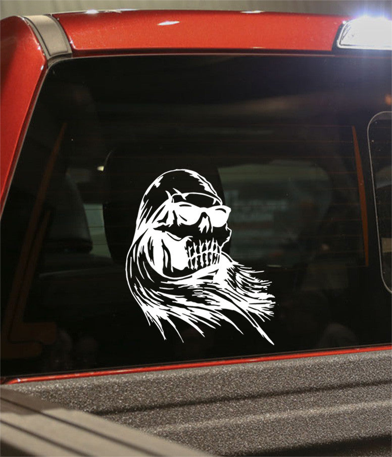 skull 15 skull biker decal - North 49 Decals