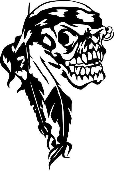 skull 5 skull biker decal - North 49 Decals