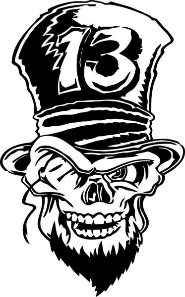 skull 7 skull biker decal - North 49 Decals