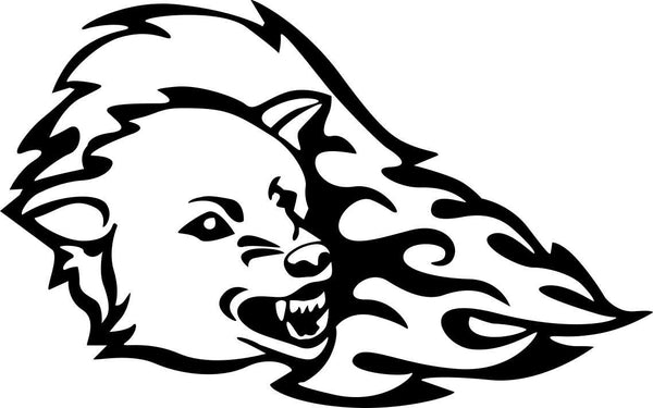 wolf flaming animal decal - North 49 Decals