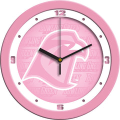 Bowling Green Falcons Pink Wall Clock